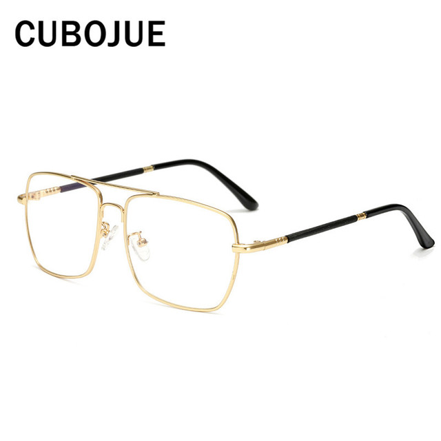 7d4724e945 Cubojue Square Glasses Frame Men Woman Optical Clear Lens Eyeglasses  Spectacles for Myopia Vintage Eyewear Gold silver Flat Top