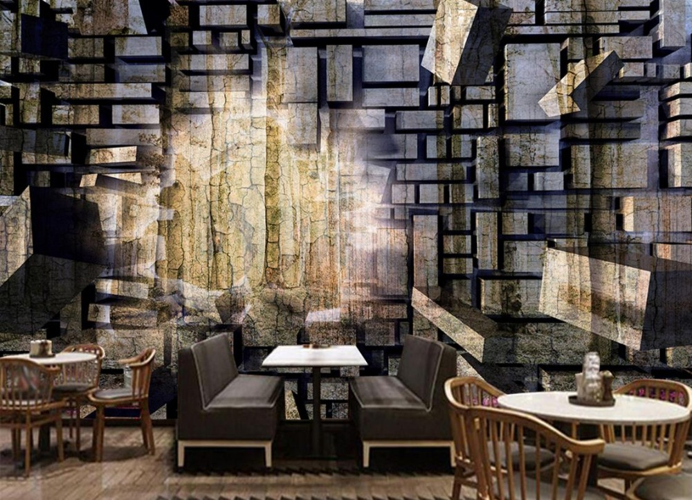 Retro nostalgia stone wallpaper brick wall large murals for Wallpaper for large walls