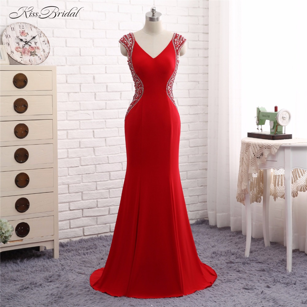 Red   Evening     Dress   2017 Vestido de Festa Mermaid V Neck Short Cap Sleeve Long Formal Party Prom Gown Abendkleider Robe de Soiree