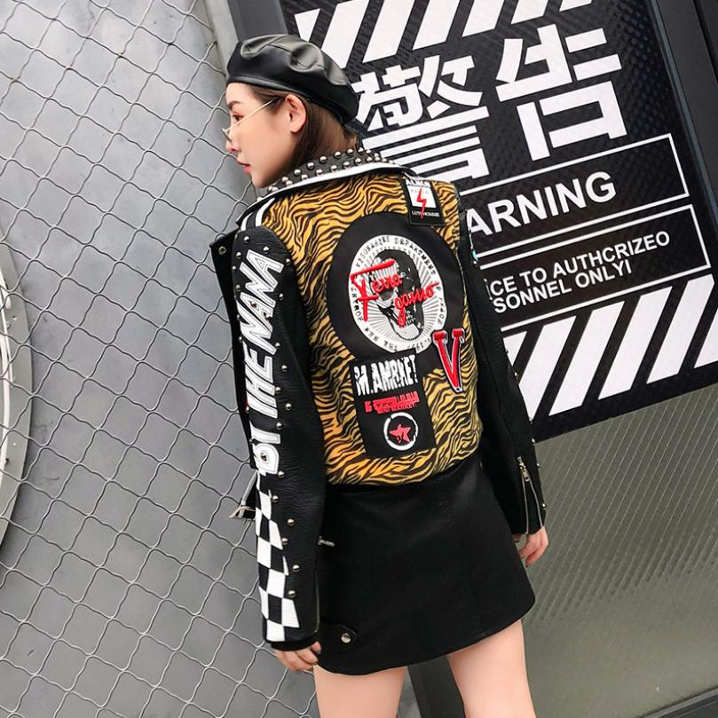 S-XL 2018 autumn winter fashion new rivet beading Pu   leather   jacket women Lapel letter printed patch Slim   leather   jacket L1411