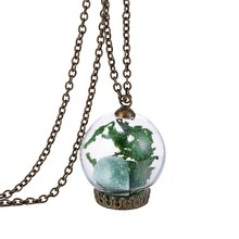 Dry Flower With Nature Gem In Glass Necklaces Pendants Women's Retro Glass Bottle Necklace Plated Bronze Long Necklace 160N86