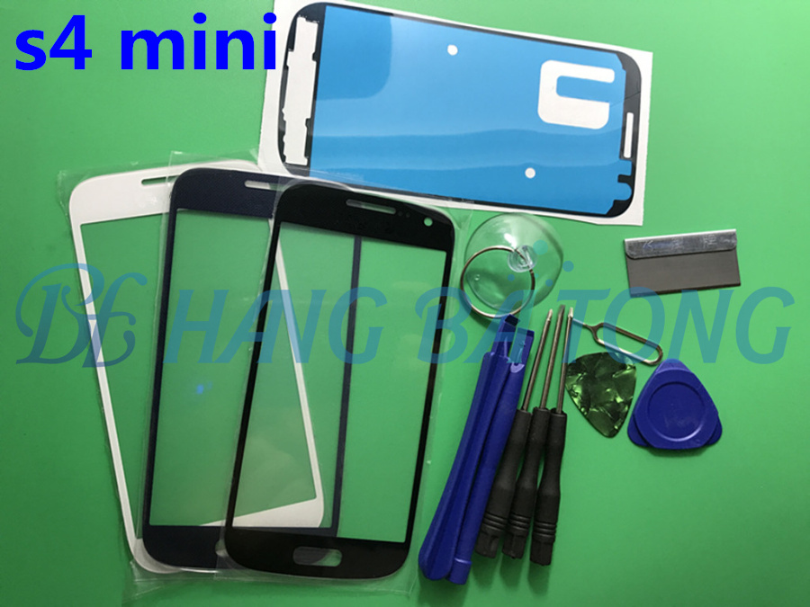 Black/white/blue Front Outer Glass Lens replacement for Samsung Galaxy S4 mini i9190 i9192 i9195 LCD touch screen+Adhesive+Tools image