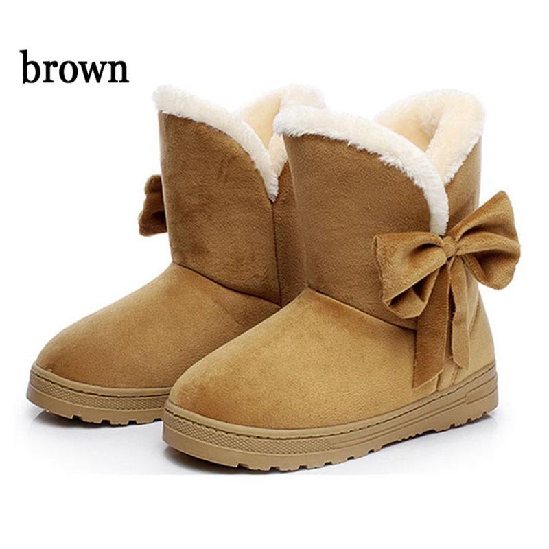 Caliente Nieve Botas Tobillo De Invierno Nuevos negro 2019 coffee Pajarita Zapatos Mujer Beige brown 5zx0II