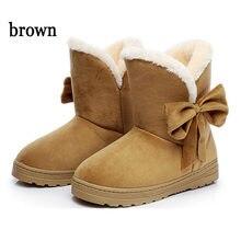 0c171ee585830 Botas Mulheres botas de Inverno Botas Sapatos de Neve de Inverno Feminino  Botas de Inverno Quente Fur Bowtie Ankle Boots 2018 No.