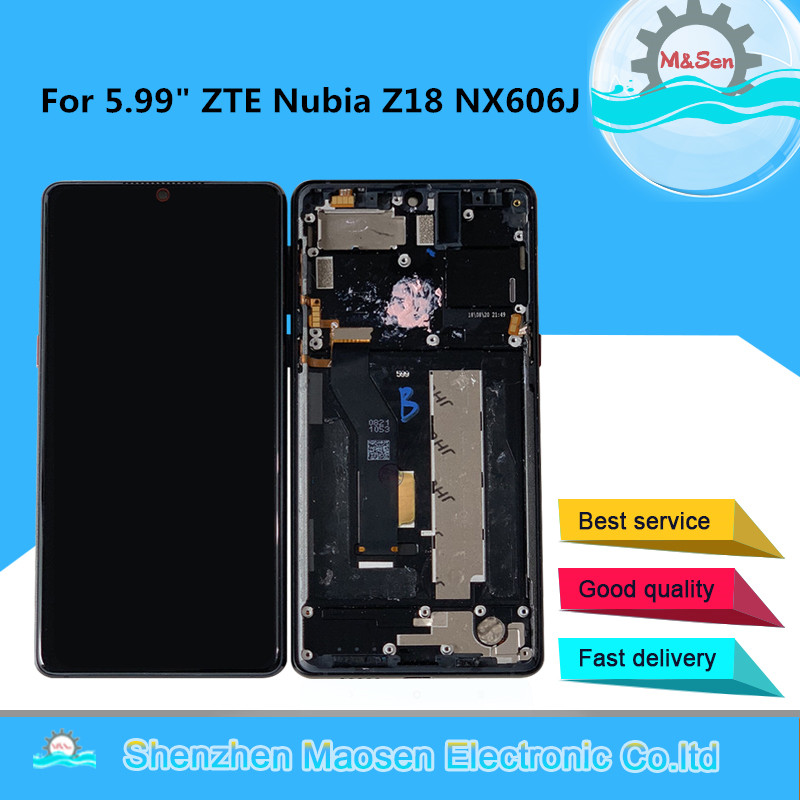 Original M&Sen For 5.99 ZTE Nubia Z18 NX606J LCD Display Screen With Frame+Touch Panel Digitizer For Z18 NX606J AMOLED DisplayOriginal M&Sen For 5.99 ZTE Nubia Z18 NX606J LCD Display Screen With Frame+Touch Panel Digitizer For Z18 NX606J AMOLED Display