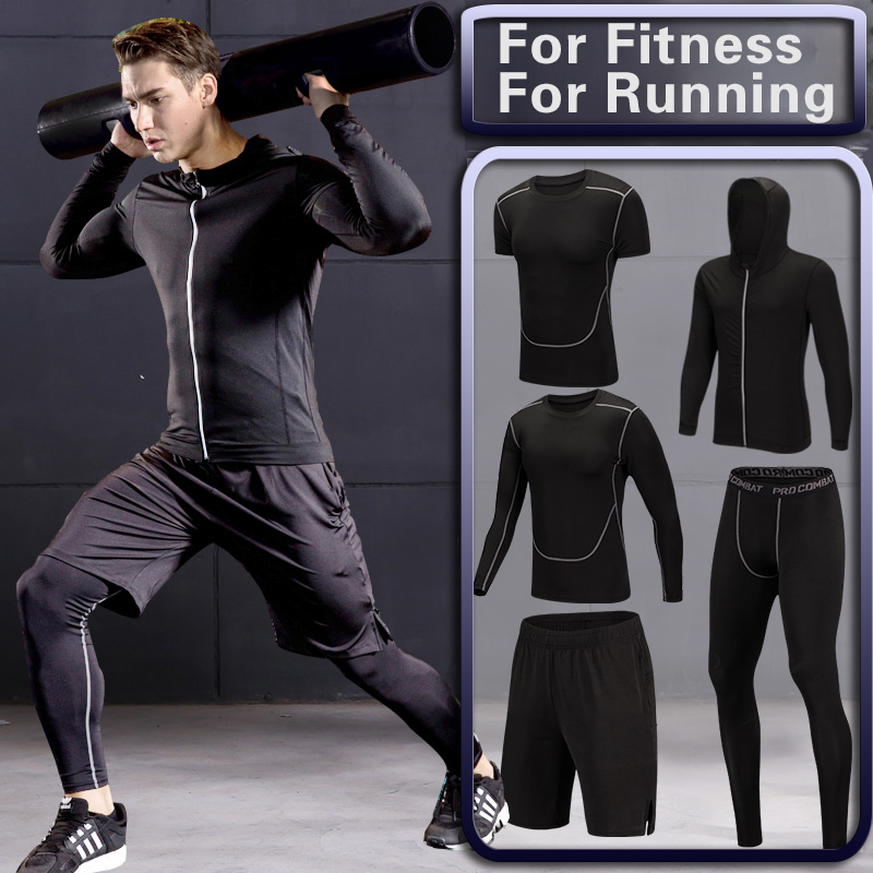 Men's Gym Training Fitness Sportswear Tights Slim Clothes Running Workout Tracksuit Suits Quick Drying High Elastic Sports Wear