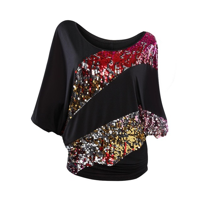 7cc18edecb331f Sexy Women s Shiny Batwing Blouse Shimmer Glitter Irregular Colorful Sequin  Sparkle Tops Bling Bling Sequined Striped Shirt