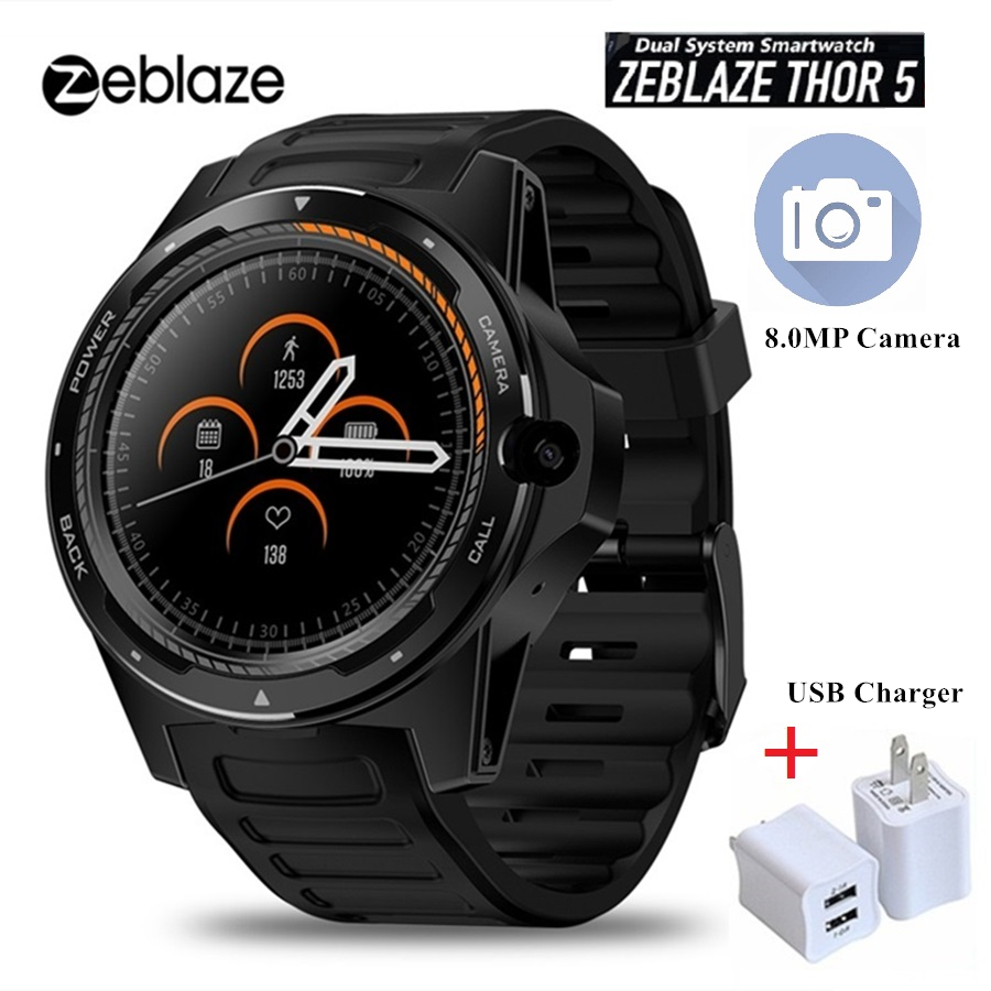 New Zeblaze THOR 5 Dual Systems 4G Smart Watch 8MP Front Camera gps wifi Heart Rate Monitor Smartwatch Men Android 7.1