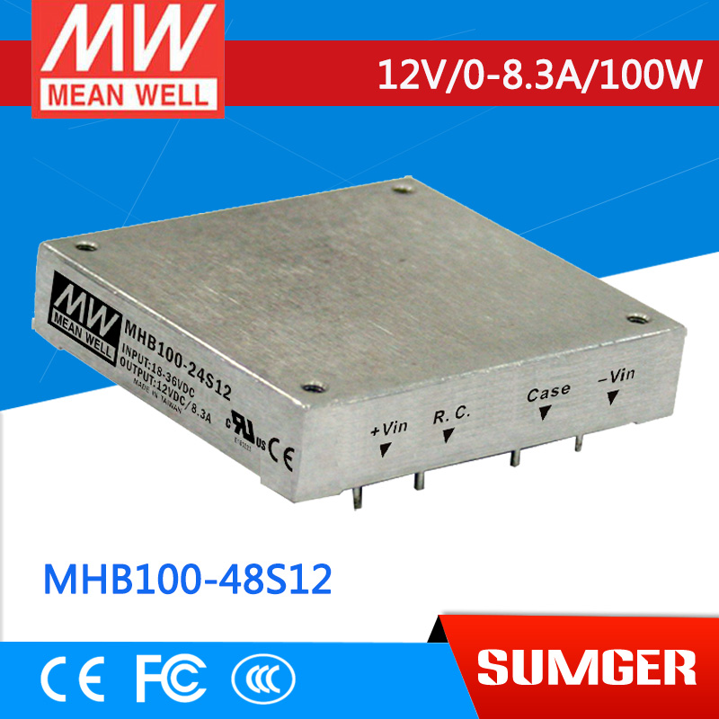 1MEAN WELL original MHB100-48S12 12V 8.3A meanwell MHB100 12V 100W DC-DC Half-Brick Regulated Single Output Converter импульсный блок питания mean well 100 100w 12v drc 100a