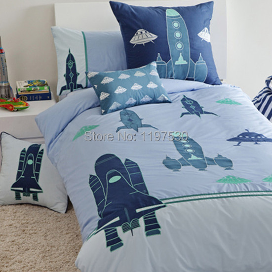 Free Shipping Rocket Embroidered Eship Ufo Flat Sheet Duvet Cover Pillow Cases Bedding Set Home Textile