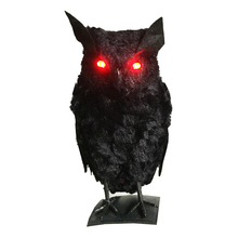 Halloween Black Owl with Red Light-up Eyes for Halloween Party Halloween Decorations