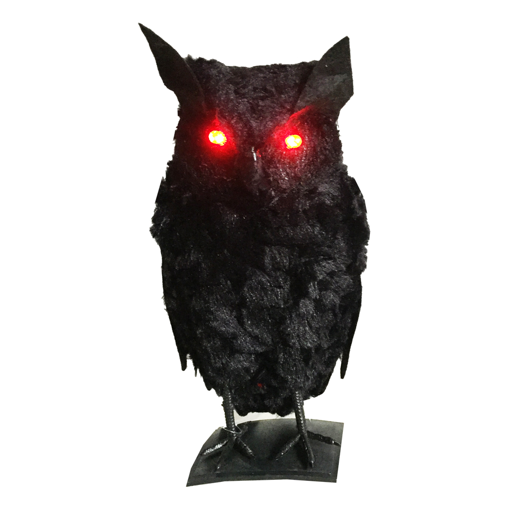 Halloween Black Owl with Red Light up Eyes for Halloween Party Halloween Decorations