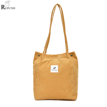RUPUTIN Women Portable Shopping Bag Large Capacity Tote Retro Corduroy Travel Shoulder Girl School Book Sundries Storage