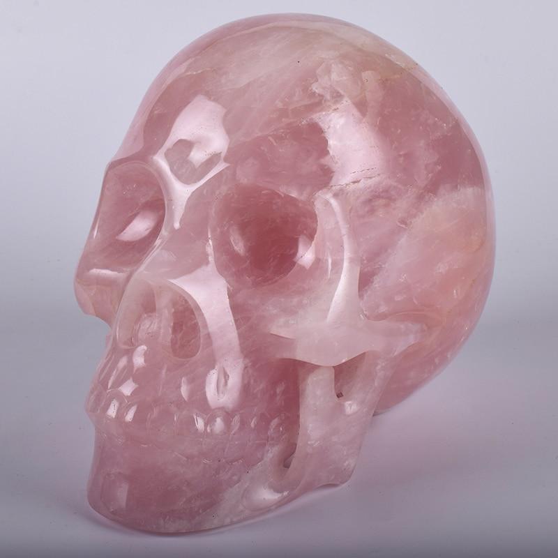 Big size 8 5 Inch 6227g Rose quartz Skull Figurine Natural Stone Hand Statue Carving Craft