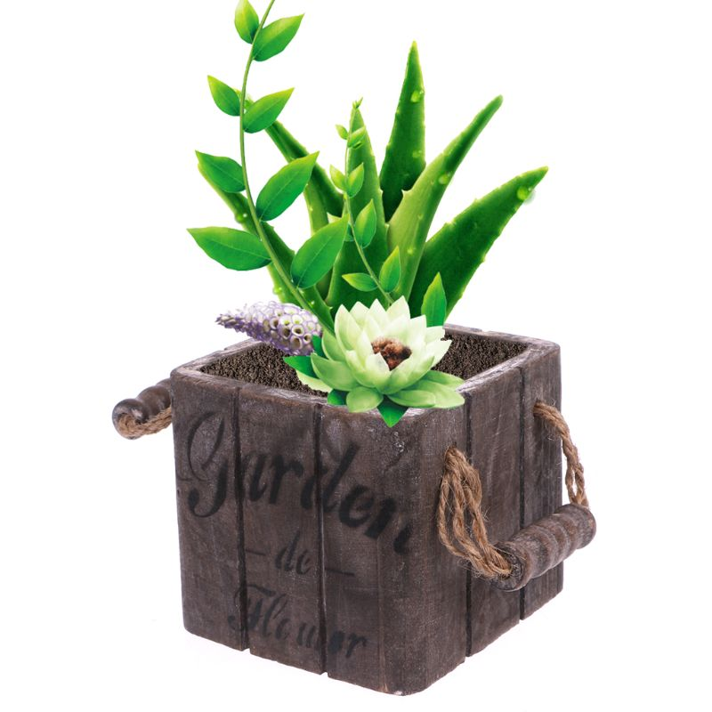 Garden Plant Pot Vintage Wooden Flower Pot Basket Fleshy Succulent Planter Box Rectangle Gardening Table Flower Pot