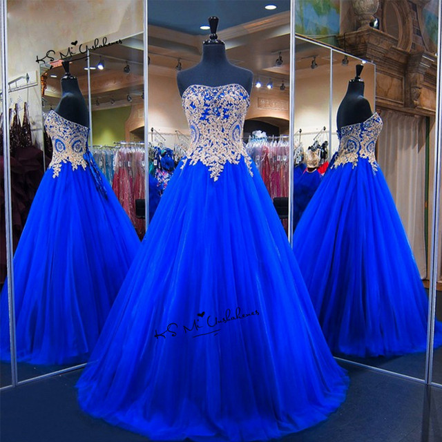 c4d6258358d Sweet 16 Dresses Vestidos de 15 Anos Royal Blue Gold Lace Cheap Quinceanera  Dresses 2018 Abiti da Cerimonia da Sera Abendkleider