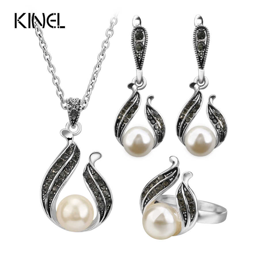 3Pcs Pearl Jewelry Sets For Women Silver Color Hollow Out Water Drop Necklace Earrings And Ring Vintage Wedding Jewelry Set