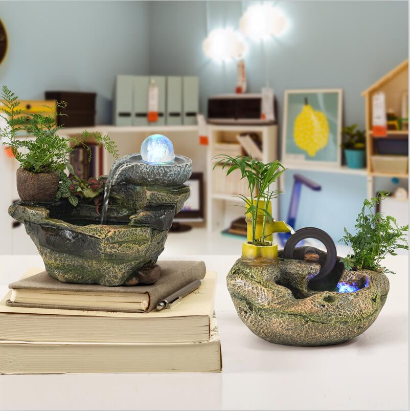 110/220 V Miniature résine rocaille fontaine d'eau Feng Shui ornements bureau maison bonsaï Figurines artisanat décor à la maison cadeau de mariage