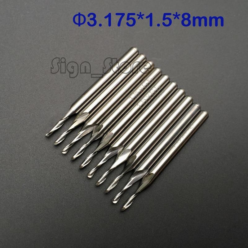 """10 pcs Carbide Endmill Double Flute Spiral CNC Router Bits 1//8/""""  3.175 x 32mm"""
