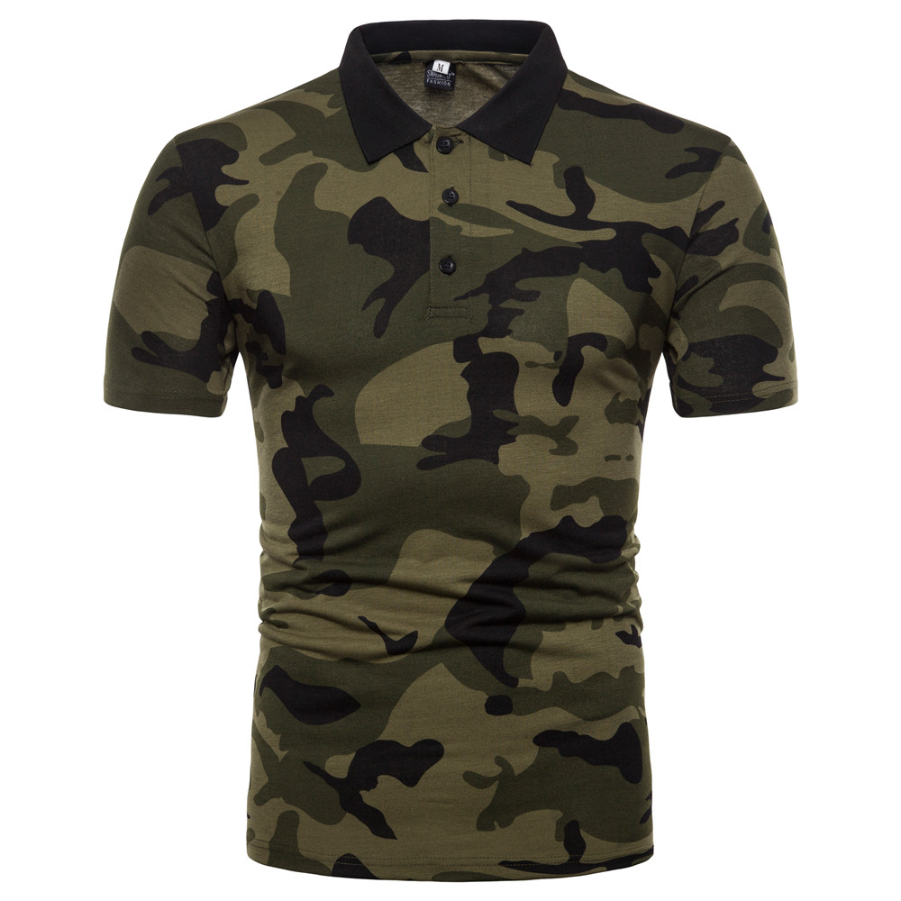 Summer Casual Men Short Sleeve   Polo   Shirt Cotton Blends Camouflage Slim Gray Army Green Turndown Collar Male   Polo   Shirt BINHIIRO