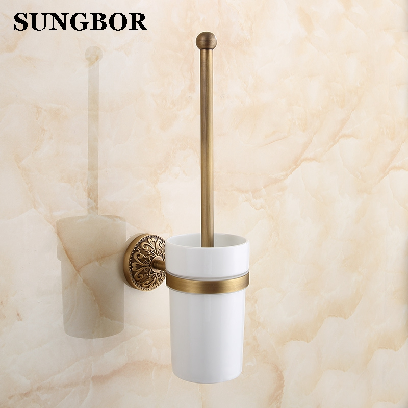 European style Antique Brass Toilet Cleaning Brush Toilet Brush Holder, Toilet brush Bathroom Products Bathroom Accessories 8109 antique brush toilet brush holder luxury carved solid brass toilet cleaning holder ceramic cup bathroom accessories