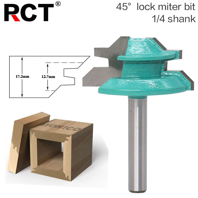 1pc Large Lock Miter Router Bit - 45 Degree - 1-3/8 Stock - 1/4 Shank Tenon Cutter for Woodworking Tools 2pcs 1 2 shank lock miter router bit tenon milling cutter for woodworking cutter tool cutting tools tenon cutter