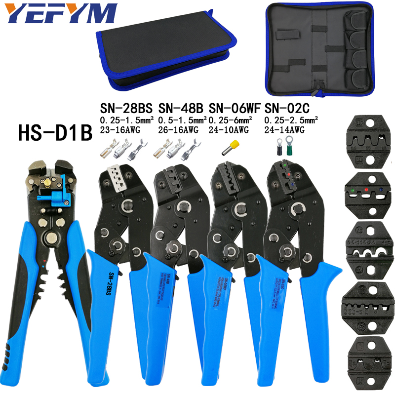 Kit crimping plier SN-48B SN-28BS SN-06WF SN-02C with 5 jaw for terminals D1B stripping wire cutters electric calmp hand tools