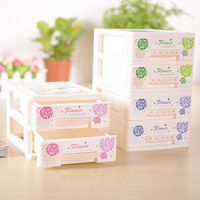 Hot Printed Make Up Organizer 2 Drawers Storage Box Clear Plastic Cosmetic Storage Box Organizers Household
