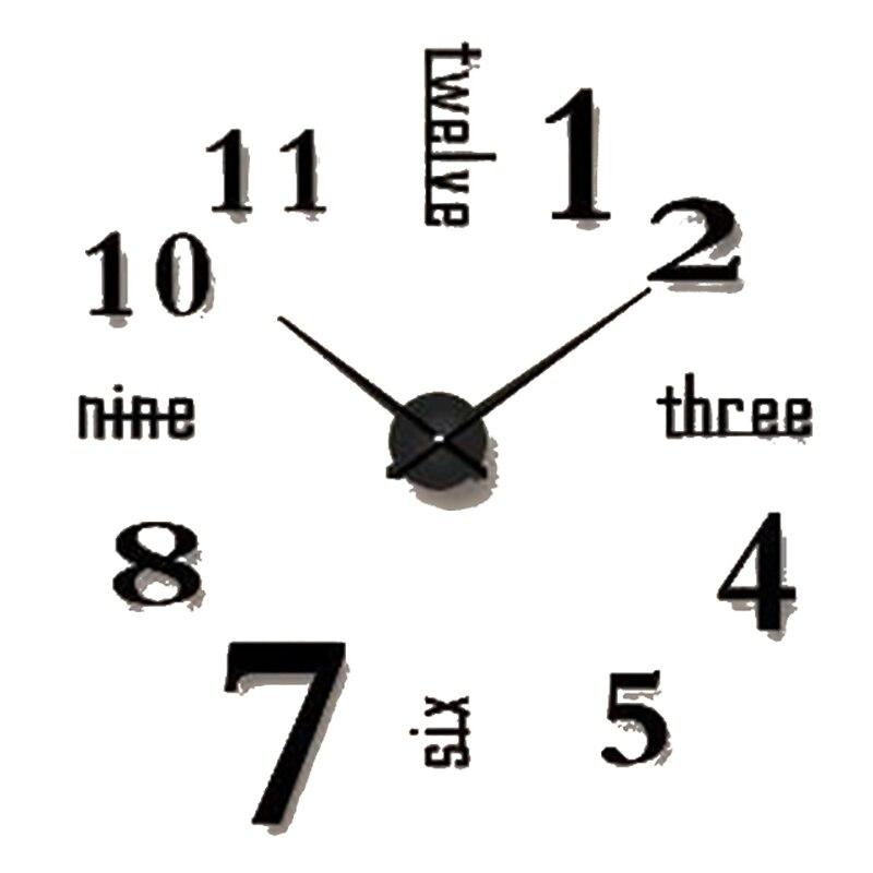 Simple bricolage horloge murale noir Antique Design moderne 3d Art grande horloge Stickers muraux bureau décor Reloj De Pared Decorativo 50w021