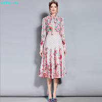 QYFCIOUFU 2018 Fashion Runway Suit Set Women's Long Sleeve Bow Beading Collar Vintage Floral Print Blouse + Pleated Skirt Set