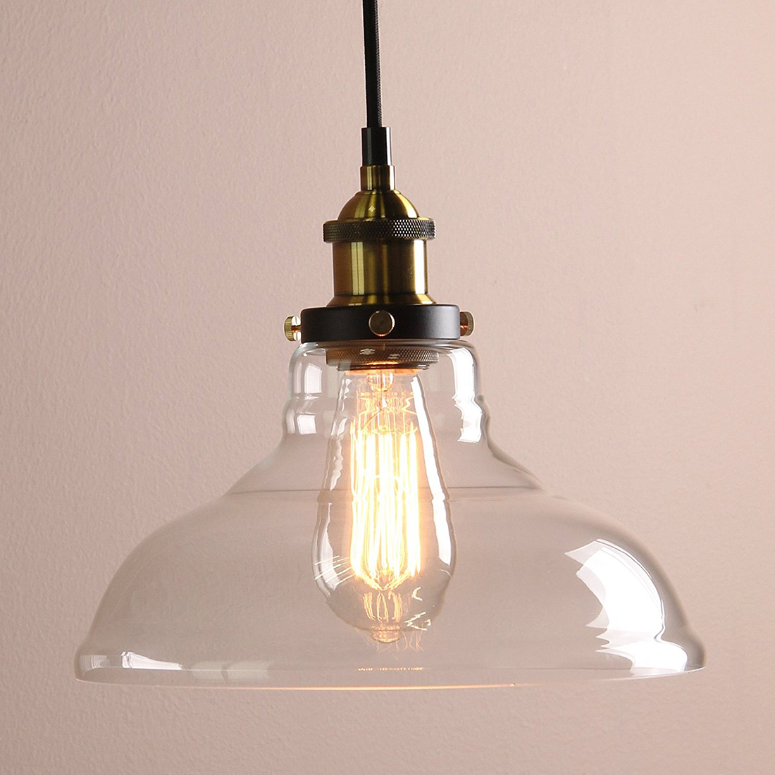 Modern Vintage Industrial 1 Light Iron Body Glass Shade Loft Coffee Bar Kitchen cover Chandeliers Hanging Pendant Lamp Light T vintage loft industrial edison flower glass ceiling lamp droplight pendant hotel hallway store club cafe beside coffee shop