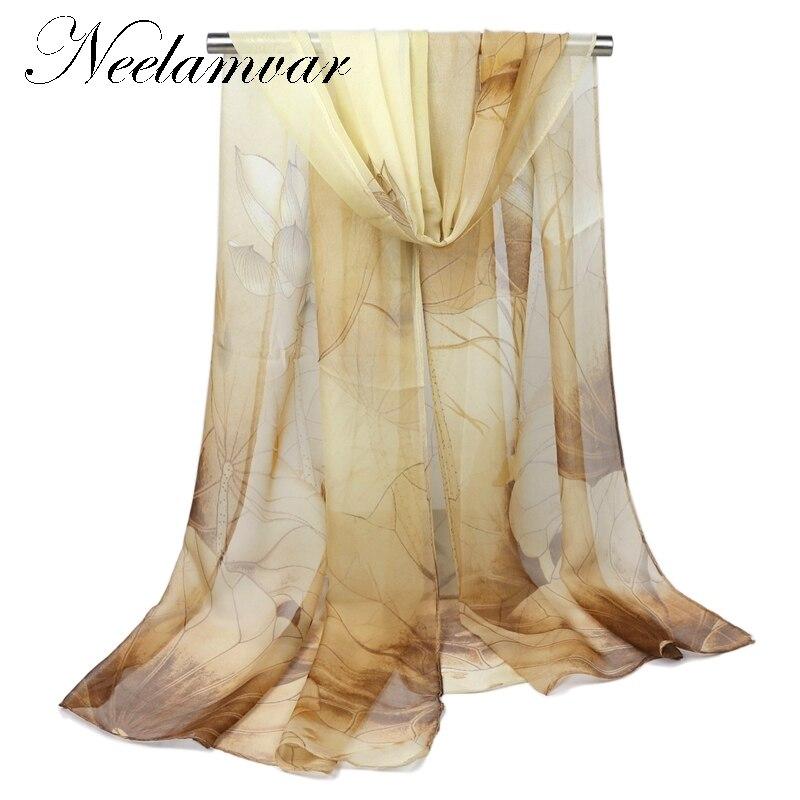 High quality SOFT silk scarf lotuses print shawl hijab s