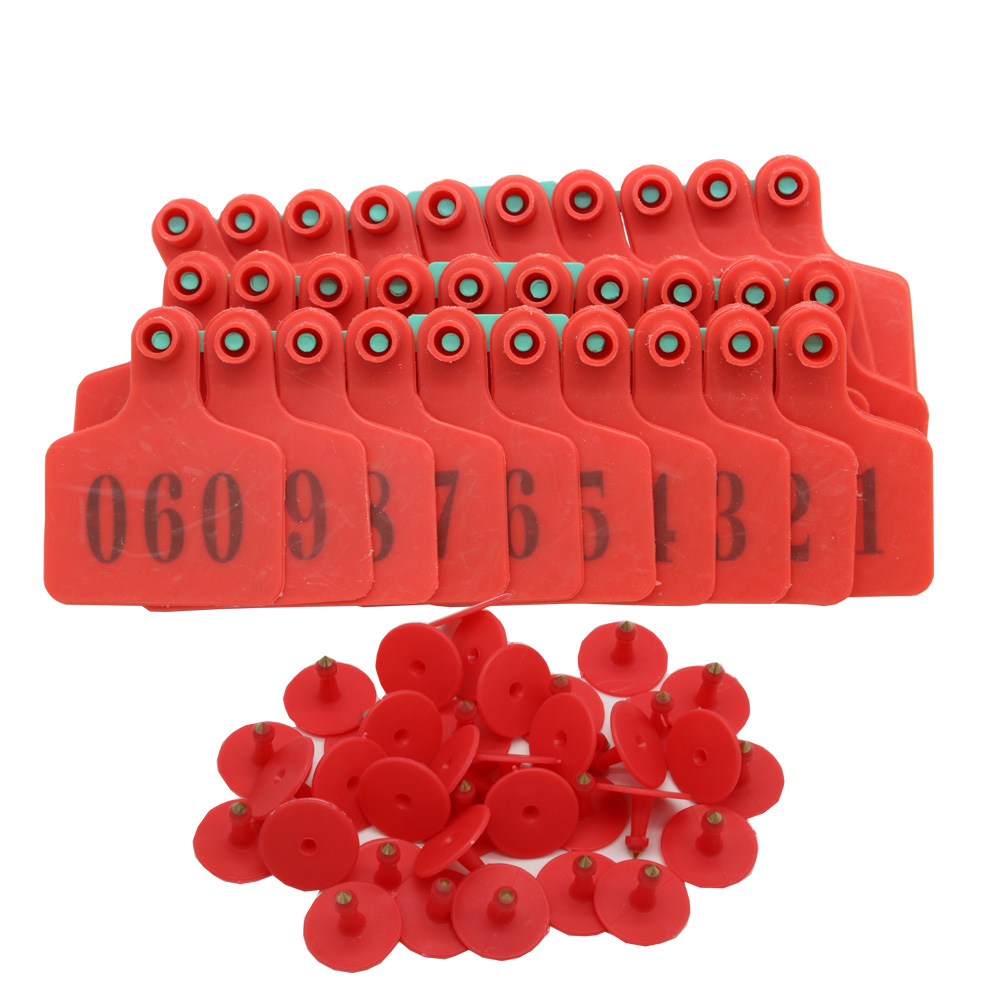 Livestock Identification Red Ear Tags For Goats Sheep Cattle Cows Pigs 100 Packs TPU Precision Ear Tags
