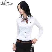 Shirts Women Tops And Blouses 2016 New Fashion Top Femme Turn-Down Collar Long Sleeve Big Sizes A White Blouse(China)