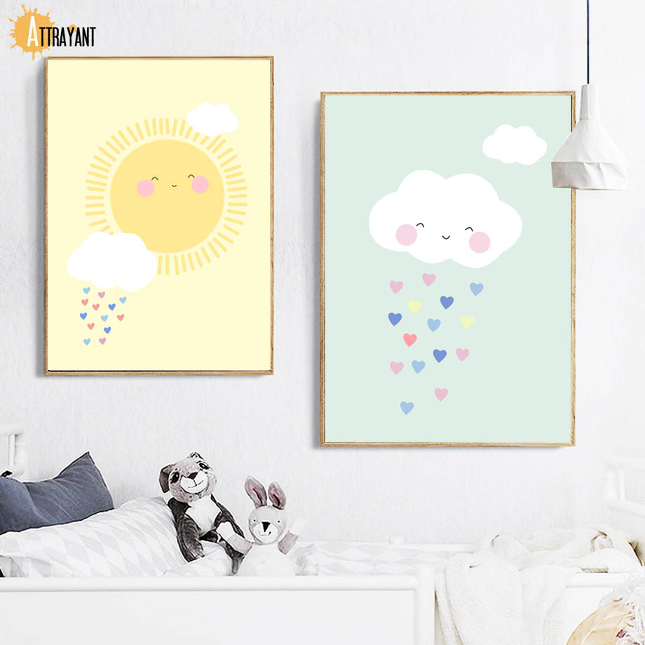 Cloud Sun Rainbow Wall Art Canvas Painting Nordic Posters