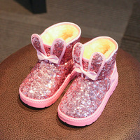 2016 New Fashion Girls Bow Knot Shoes Winter Snow Boots Waterproof Sequins Children Slip Baby Boots