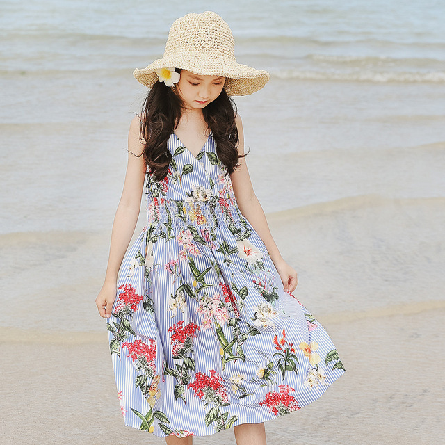 12a66540510e6 US $20.62 9% OFF|2018 girls summer dresses beach children clothing 12 14  years old kids costume floral -in Dresses from Mother & Kids on ...