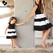 Chivry New Mother Daughter Summer Dresses Sleeveless Patchwork Dress Mom and Family Matching Outfits Clothes