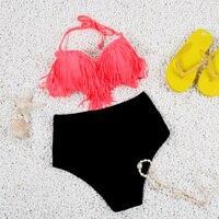 2016 High Waist Swimsuit Bikini Push Up Padded Leopard Swimsuit Sexy Fringe Tassel Swimwear Bathing Suit