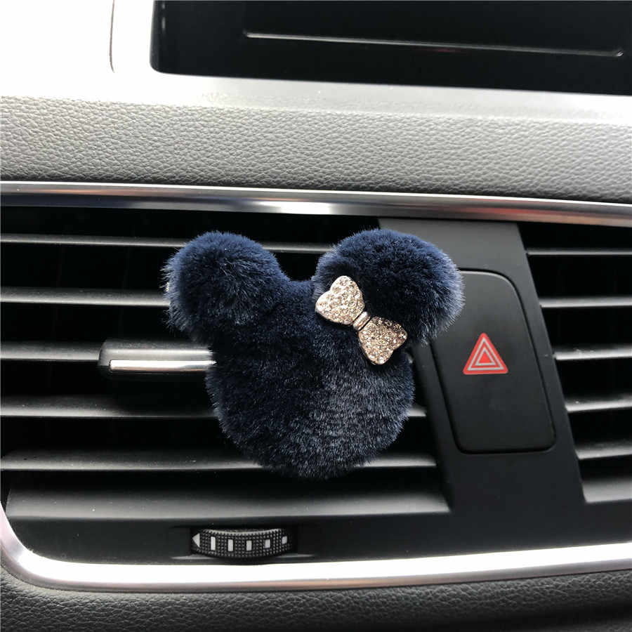 Novo de pelúcia mickey gravata borboleta carro perfume clipe ambientador ar condicionado tomada perfume ornamento bonito carro modelagem