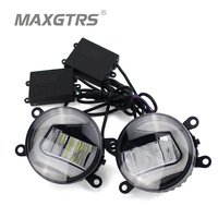 2x Universal Car Auto Front Bumper DRL COB LED Fog Bulb Lights Diameter 9cm Daytime Running