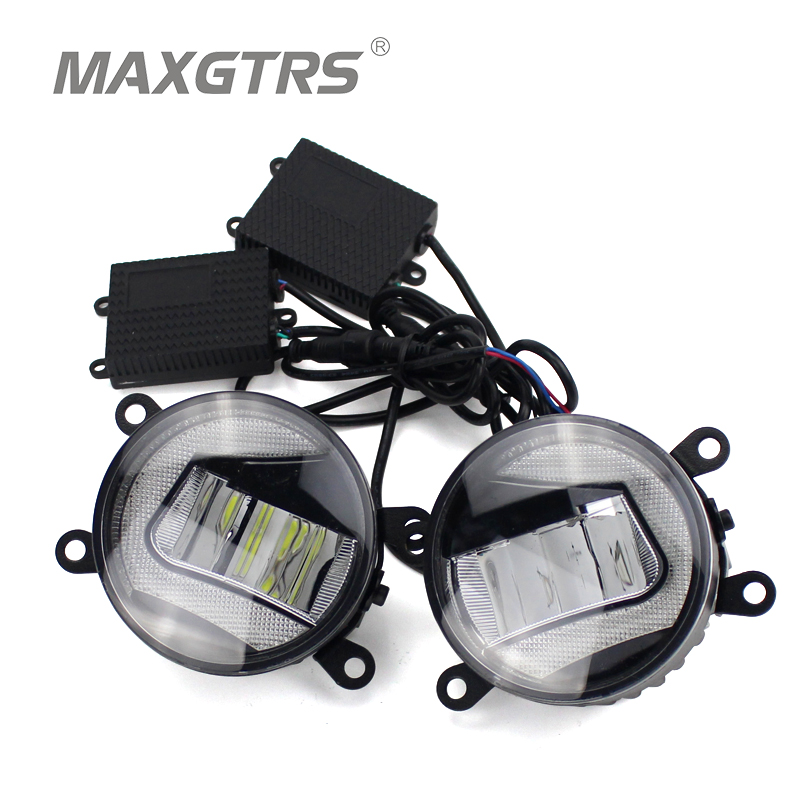 2x Universal Car Auto Front Bumper DRL COB LED Fog Bulb Lights Diameter 9cm Daytime Running Light Fog Lamps For Ford Toyota for opel astra h gtc 2005 15 h11 wiring harness sockets wire connector switch 2 fog lights drl front bumper 5d lens led lamp