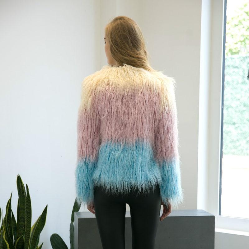 Fs0242 Sheep New Coat Shaggy Contrast Autumn Outerwear Women Goat Jacket Color Hairy Fur Faux OqYwwxv