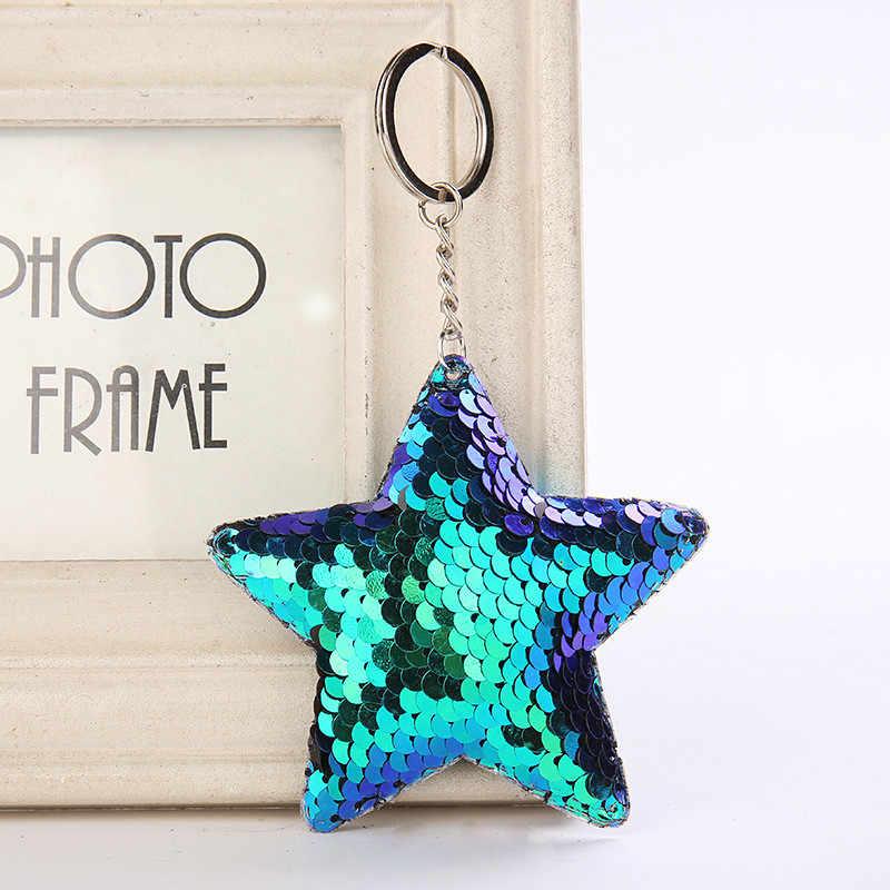 Bonito Presentes Da Corrente Chave Chaveiro Chaveiro Estrela Pompom Glitter Lantejoulas para As Mulheres Saco de Acessórios Do Carro chaveiro Llaveros Mujer