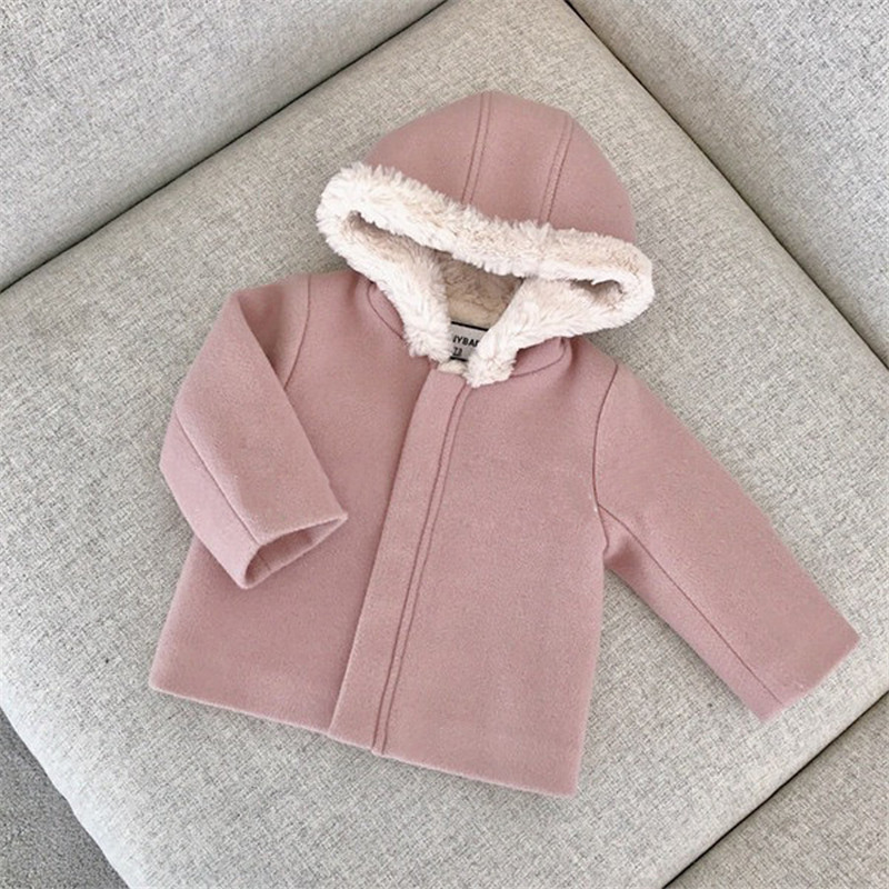High Quality Wool Blends For Baby Girl Winter Warm Pink Coat Children Hooded Jackets Coat 2018 New Arrive Beautiful Coats 6m-3Y baby hat cute the high quality knitting wool hat children winter warm knitted cap girls photography headwear caps