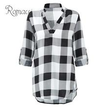 Classic Autumn Women Plaid Loose Long Shirt V Neck Roll-up Long Sleeves Oversize Rayon Long Blouse Plus Size Casual Tops недорого