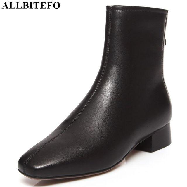 ALLBITEFO/женские ботинки из натуральной кожи; сезон осень-зима; удобные ботильоны для отдыха в Корейском стиле для девочек; модные ботинки