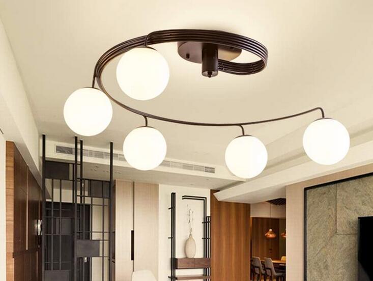 US $102.0 |Modern Led Lampadario Illuminazione Soggiorno Cucina Sala Da  Pranzo Light Fixture Nero In Ferro Battuto Vetro Paralume Casa Lampada E27  90 ...