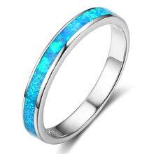 Серебряные классические кольца с круглым океанским синим и белым огненным опалом для мужчин и женщин, обручальные кольца с лучшим любовникам