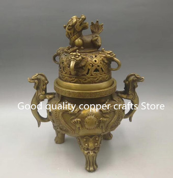 Collect archaize brass carving dragon Incense burner crafts statue